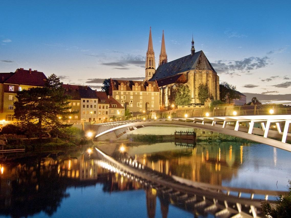 Brücke vor Kirche in Bautzen
