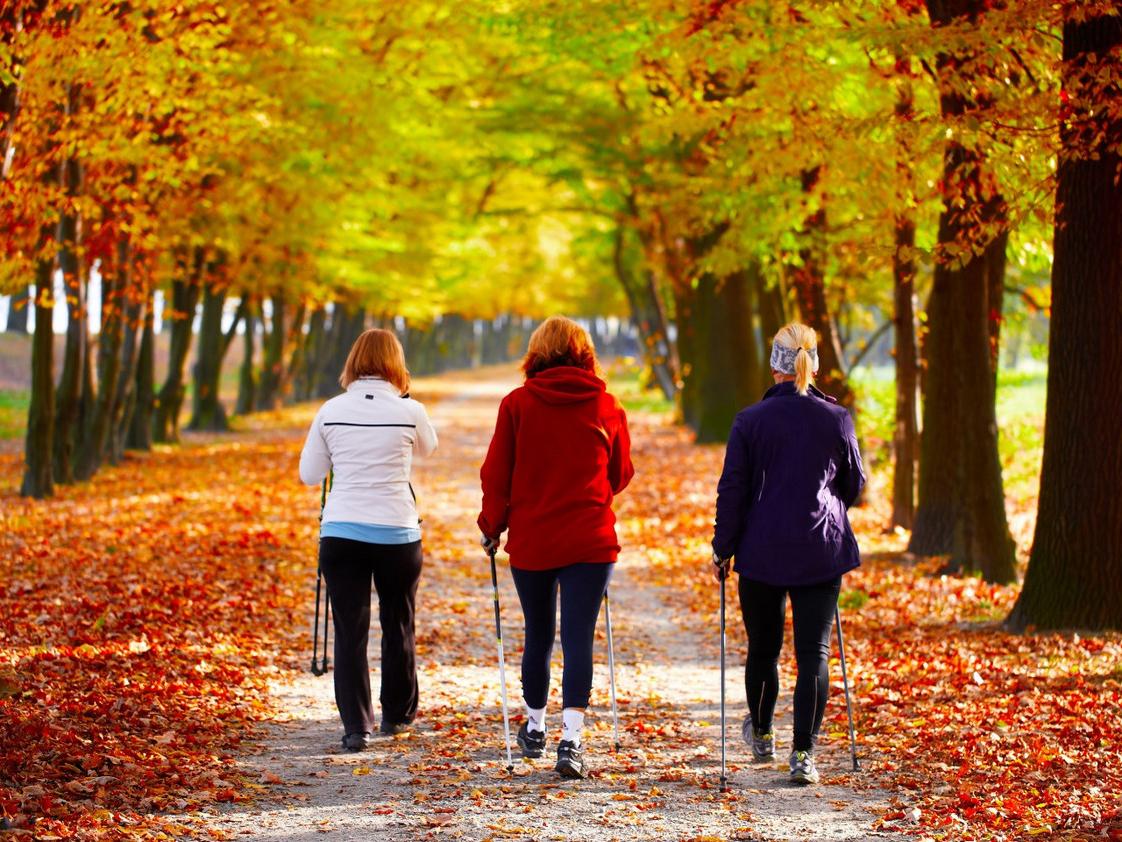 Frauen beim Nordic Walking im Herbst