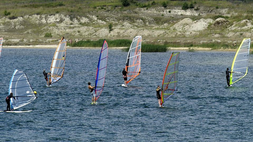 Kitesurfer auf dem Geierswalder See