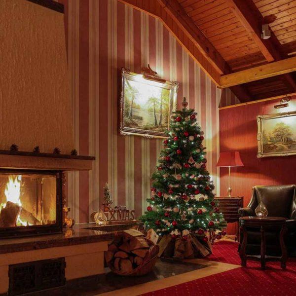 Weihnachtsbaum am Kamin